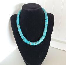"Santo Domingo Graduated Turquoise Heishi Sterling Necklace 17"" Vintage 58g"