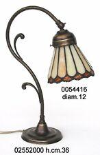 Lampada da tavolo in ottone brunito con vetro Tiffany abat-jour colore avorio