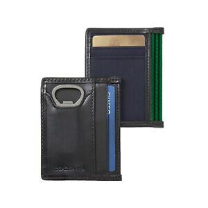 BAEKGAARD ID Card Case w/ Bottle Opener, Navy Blue Canvas, Black Leather Trim