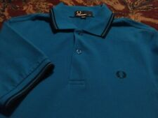 FRED PERRY Men's Polo Style 100% Cotton XS Xtra Small BLUE w/ Black SS Shirt