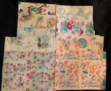 (9)Vintage Wrapping Paper Lot: Shower,Birthday,Wedding,Kittens,Scrapbooking