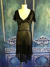 JOHN GALLIANO Sheer Silk Flapper Slip Dress SZ 2-4 US Embellished Velvet Floral