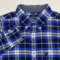 American Eagle Button Up Shirt Mens Medium Blue Plaid Long Sleeve Casual