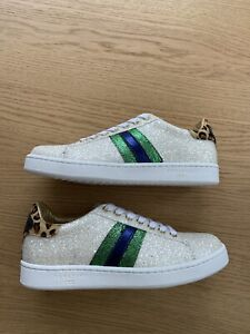 Serafini J Connors Glitter White Leather Trainers Size 37 New Womens