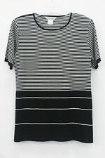 Exclusively Misook Women's Black & White Striped Knit Short Sleeve Top Size L