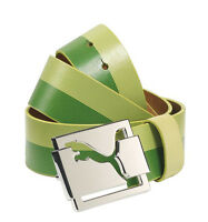 New Mens Puma High Shine Genuine Leather Golf Belt Green Lime Punch S M LG