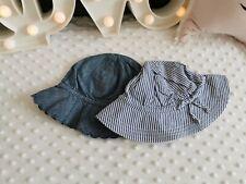 Girls Baby GAP Sun Hat Toddler Girl Mid Denim Effect Soft Bow Floppy  Brim 0-24m