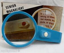 SENIOR MAGNALIGHT Reading Magnifier Hand Held Lighted Magnifying Glass Blue VTG