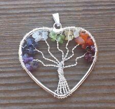 HEART STYLE 7 CHAKRA TREE OF LIFE  WIRE WRAPPED PENDANT STONE GEMSTONE