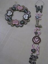 Heart Wreath and Welcome Sign / Every Day or Valentine's Day  / Set / NEW
