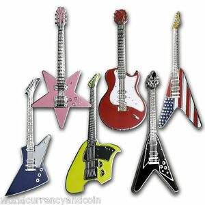 SOMALIA 1 DOLLAR NEW 2004 GUITAR SHAPED Set x 6 DIFFERENT COLOURED COIN AFRICA