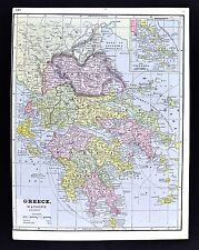 1891 Watson Atlas Map - Greece - Athens Thessaloniki Patras Piraeus Heraklion