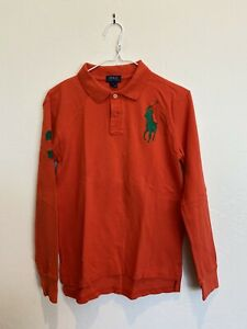 Boys Large Orange Ralph Lauren Polo Long Sleeve Shirt with Green #3
