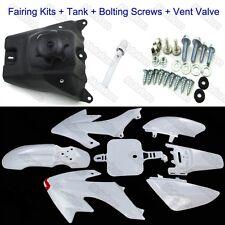 White Plastic Fender Kit+Screws+Tank +Vent Valve For Honda XR50 CRF50 Pit Bike