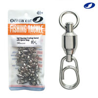 Ball Bearing Fishing Swivel with Fast Snap Clip Stainless Steel Connector Tackle