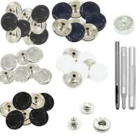 15mm 4 Parts S Spring Press Studs Snap Fastener with Hand Fixing Tool for Purses