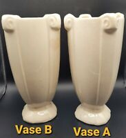 McCoy White Glaze Vase Pair Art Deco