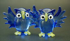 2 Tiny Glass OWLS BIRDS Blue Stained Painted Glass Animals Glass Curio Ornaments