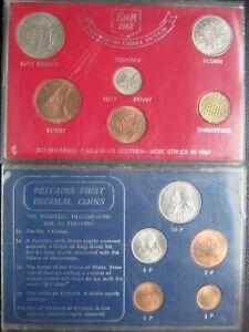UK British 1967~1971 Last £SD Pre-Decimal & First Decimal 11 Coin 2 Sets ~ Cased