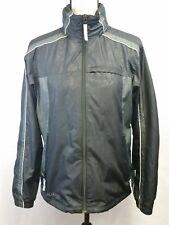 Women's Columbia Black Gray Jacket Full Zipper Hood Wind Breaker size Medium EUC