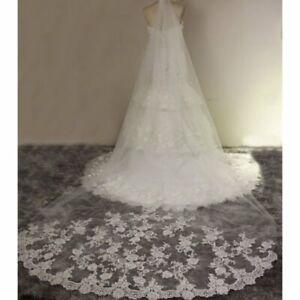 Wedding Veil 10feet Long Cathedral Lace Edge Bride Wedding Bridal Long Veil+Comb