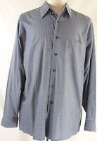 DKNY Blue Dress Shirt Men's size L 17-34/35 Casual Long Sleeve  Blue check grid