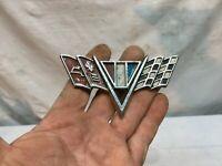 Vintage 1970s Chrome Chevy Corvette Side Badge Emblem Rat Rod Hood Ornament