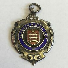 Vintage Solid Silver Watch Fob Medal 1929 Neasden District Cup Bowls J Awylie