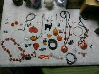 Vintage Halloween Jewelry Jewellery Lot rare brooches earrings necklaces Creepy