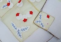 GORGEOUS Vintage Embroidered Madeira Tablecloth Napkins Yellow Red Berry Set
