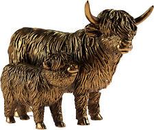 More details for bronze 19cm highland cow and calf figurine ornament