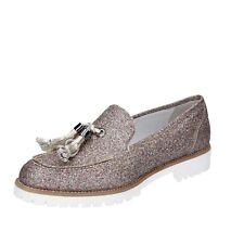 scarpe donna VSL 39 EU mocassini platino multicolore glitter BS62-39