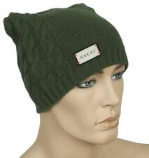 NEW GUCCI LIME GREEN LUXURY WOOL CASHMERE LOGO BEANIE HAT 58/M UNISEX