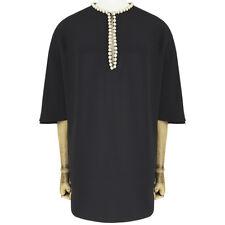 Alexander McQueen Black Silk Pearl Chain Edged Tunic Top IT42 UK10