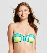 Xhilaration Womens Colorblock Bandeau Bikini Top Aqua Colorblock -L -NO STRAPS