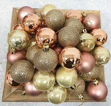 80 X ROSE GOLD CHAMPAGNE COPPER PEARLISED CHRISTMAS BAUBLES DECORATIONS 50MM