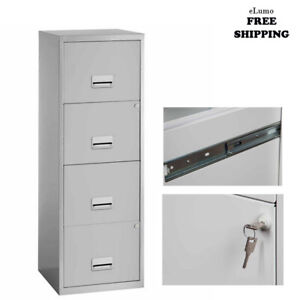 4 Drawer Maxi Tall Filing Cabinet Grey Quality Durable Steel Metal Locable A4 UK