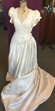 1980's Wedding Dress with Train by Mon Cheri Bridals, Pearl Embellished Bodice