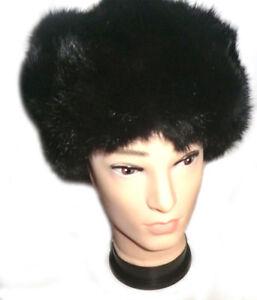 Unisex Chapeau Ushanka Original Russia Bonnet Fourrure De Lapin Couleur Noir