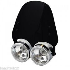 Universal Motorcyle Twin Dominator Headlight Dark Smoked Screen Streetfighter