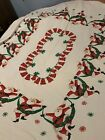 Vintage 1950s Christmas MCM Santa Tablecloth 56x64 Estate Startex?