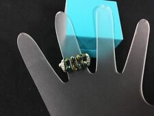 Two's Company Two Row Green Bead Stretch Band Ring NWOT