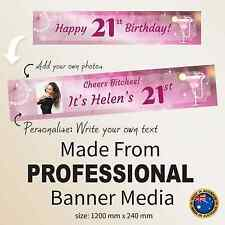 Custom 21st Happy Birthday Pink Canvas Fabric Party Banner Decorations Supplies