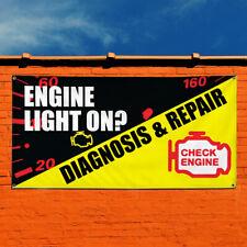 Vinyl Banner Sign Engine Light On? & Repair Auto Car Vehicle Automotive Black