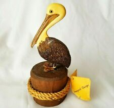 Pelican Wood Carved Figure Nautical Crafted Bird Honeywood Designs Rc Green 8 in