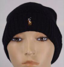 Polo Ralph Lauren Black Wool Cuff Beanie Hat Skull NWT