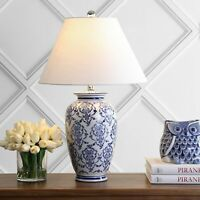 "Juliana 26.25"" Chinoiserie Ceramic LED Table Lamp, White, Blue"