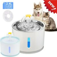 2.4L Automatic USB LED Electric Pet Water Fountain Cat/Dog Drinking Dispenser AU