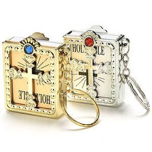Mini Holy Bible Keyring Gold/Silver Christian Jesus Book Christmas Keychain Xmas