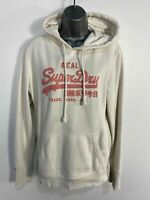 WOMENS VINTAGE SUPERDRY SIZE LARGE WHITE CASUAL LOGO FRONT HOODIE JUMPER SWEATER